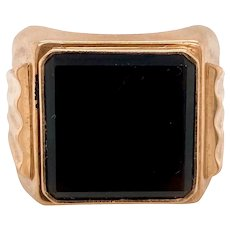 Art Deco / Retro 9K Man's Onyx Ring