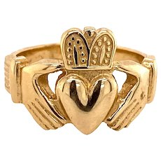 Men's or Women's Claddagh Ring 14K Yellow Gold