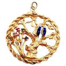 Vintage Large 14K Gold Jeweled Charm With Love Birds