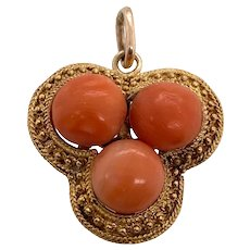 Victorian 14K Gold Coral Pendant Charm