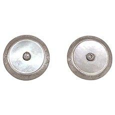 Edwardian 14K White Gold MOP Diamond Post Earrings
