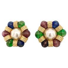 Vintage 14K Gold Pearl & Gemstone Clip Back Earrings
