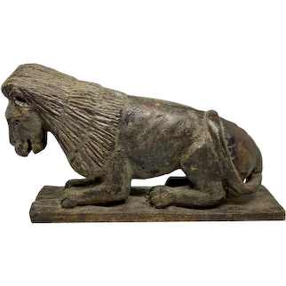 Carved Wooden Folk Art  Lion, Possibly North Carolina c. 1850