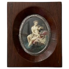 """19th C. Miniature Painting """"Lida and the Swan"""" with Wooden Frame, Silver Bezel"""