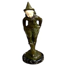 Georges Omerth French 19th C Bronze of Clown Boy with a Dog