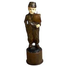 Late 19th C. Bronze Sculpture Dutch Boy with Sailboat