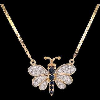 14K Gold Silver Sapphire & Diamond Butterfly Pendant Necklace