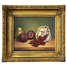Still Life Painting, Plums, Pear and Raspberries.  Signed Mary Remer