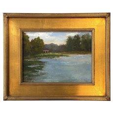 Summer Landscape Painting of Lake & Gazebo, Jillian Collins