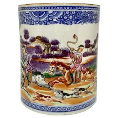 18th C. China Trade Porcelain Hunt Theme Cup or Beaker