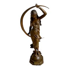Auguste Moreau Aurora Bronze Figure, French late 19th C.