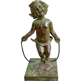 Vintage Petite Miniature Bronze of Young Girl Jumping Rope