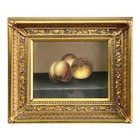 American Still Life Pastel on Paper, Still Life of Peaches C 19th Century
