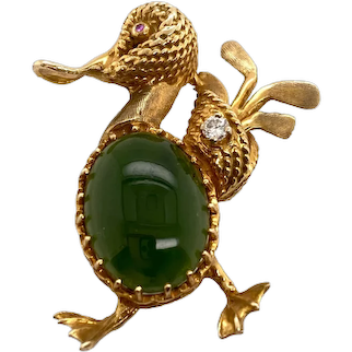 Vintage 14K Gold Jade & Diamond Duck with Golf Clubs Pin