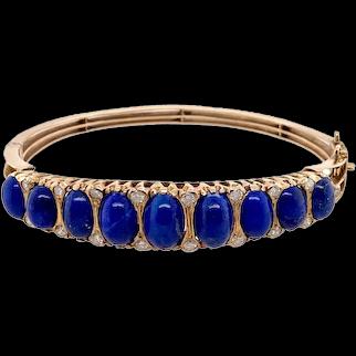 Victorian Style 14K Gold Lapis Lazuli & Diamond Bangle Bracelet