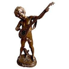 """Prelude"" Signed Aug Moreau, Late 19th C. Boy Playing Mandolin"