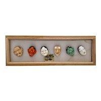 "Rare Set Porcelain Japanese Toshikane Buttons 6  ""Noh"" Play Masks, Original Box"