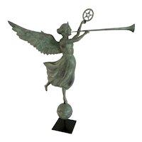 """Fame""  Angel Weathervane by Mark A. Perry, Folk Artist - woodcarver, MA"