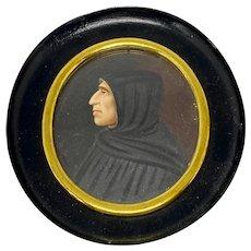 19th C. Renaissance Style Portrait Painting of Monk