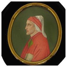 Renaissance Style 19th C. Miniature Portrait Painting of Priest