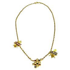 18K Gold Diamond Ruby and Sapphire Bee and Honey Comb Necklace