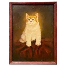 American Primitive Orange Tabby Cat Portrait Oil on Board