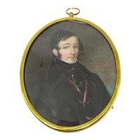 American Miniature Portrait Of a Young Gentleman c. 1820