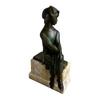 French Art Deco Seated Bronze Satyr, Charlotte Monginot, c. 1920