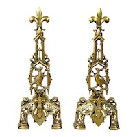 19th C. French Gothic Revival Brass Andirons