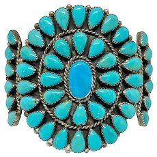 Vintage Native American Sterling & Turquoise Unisex Cuff Bracelet
