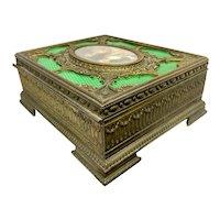 French Bronze & Enamel Jewel Box With Miniature Portrait Painting