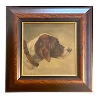 19th C. Hound Dog Portrait Painting Oil on Board  dated 1898