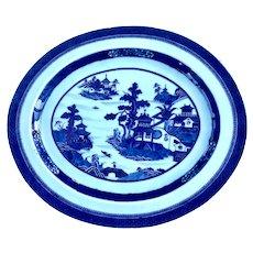 Chinese Nanking Blue and White Porcelain Platter c. 1820
