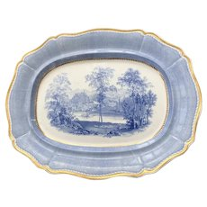 Large English Staffordshire Ceramic Scenic Platter c. 1840
