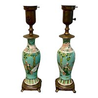 Pair of 19th Century Chinese Vase Lamps Figural & Floral Decorated