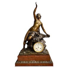 Large French 19th Century Bronze & Marble Clock (Andromeda)