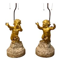 Pair French 19th C. Gilt Bronze Cherub Figures Mounted As Lamps