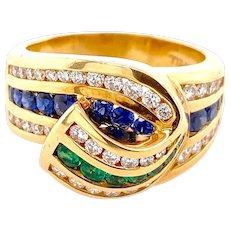 Charles Krypell 18K Gold Diamond Sapphire & Emerald Ring