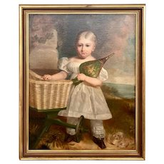 19th Century American Portrait Of A Child With A Basket
