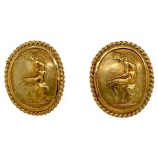 18K Gold Seidengang Athena Collection Neoclassical Earrings