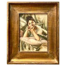 Continental 19th C Art Nouveau Portrait Painting of Young Woman
