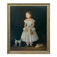 19th C. Folk Art Portrait of Young Girl With Violin and Poodle