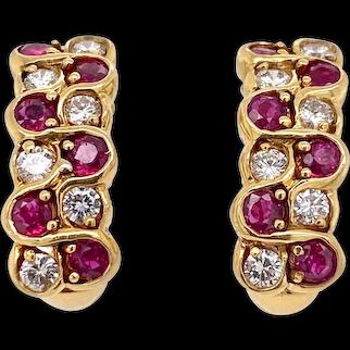 Vintage Mayors 18K Gold Ruby & Diamond Huggy Clip Earrings