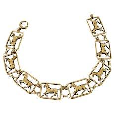 Vintage 14K Yellow Gold Open Work Horse Link Bracelet