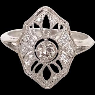 Edwardian Platinum and Diamond Filigree Ring