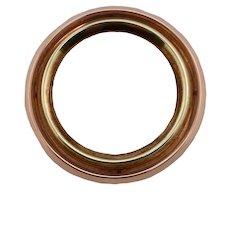 Retro Period Krementz 14K Rose & Yellow Gold Circle Pin / Brooch