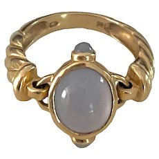 14K Gold Blue Chalcedony Articulated Ring