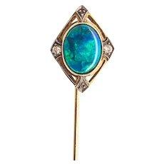 Rare Arts & Crafts 14K Gold Black Opal & Diamond Stick Pin