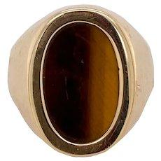 Vintage 14K Gold Tiger's Eye Men's or Unisex Ring