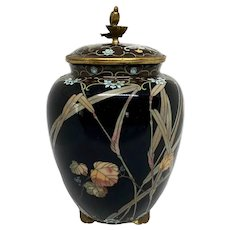 Japanese Meiji Cloisonné Covered Footed Vase With Bird Finial